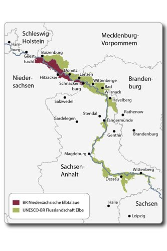 Karte Biosphärenreservat Flusslandschaft Elbe